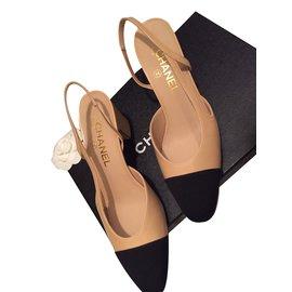Chanel-Slingback Chanel-Noir,Beige
