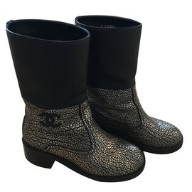Chanel-Ankle Boots-Black,Silvery