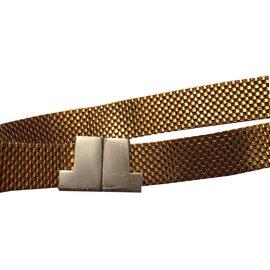 Lanvin-Ceinture en metal doré et fermoir logo LANVIN 1970-Doré