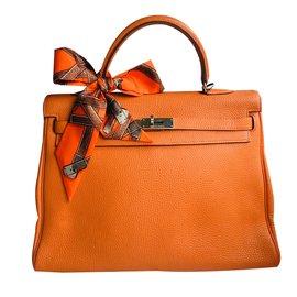 208f015b93c5 Hermès-Sac HERMES Kelly 35cm Togo orange-Orange ...