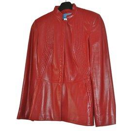 Thierry Mugler-Veste en cuir-Rouge
