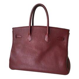 Hermès-Birkin 35 rouge H-Bordeaux