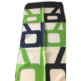 Lanvin-Vintage années 60 grande écharpe en soie-Multicolore