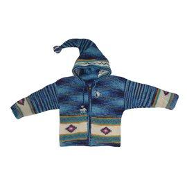 Autre Marque-Veste péruvienne Pérou à capuche Bleue Pure laine Bébé Enfant 2 / 4 ans-Blanc,Bleu