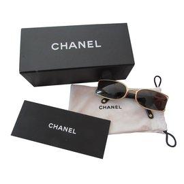 Chanel-Lunettes-Doré,Marron clair