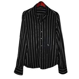 Roberto Cavalli-Class striped casual shirt-Black,White