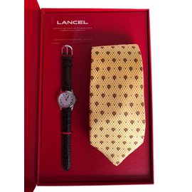 Lancel-Coffret Montre Lancel et Cravate Lancel-Argenté