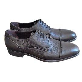 Ermenegildo Zegna-Ebony lace up shoes-Dark brown