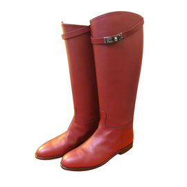 Hermès-Hermes Kelly Jumping Boots in Burgundy-Dark red
