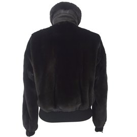 Hermès-Blouson aviateur en vison-Noir