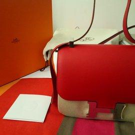 Hermès-Constance 24 rouge casaque palladium-Rouge