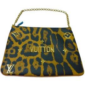 Louis Vuitton-Pochette Masters ultra-limitée introuvable motif panthère !-Noir,Doré