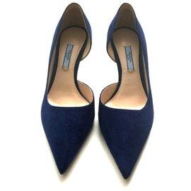 Prada-Escarpins Blue suede d orsay-Bleu ... 3b6e5c200f5c