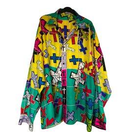 4aca1f8bc6f266 Gianni Versace, Chemise motif à croix - Taille 54 - XXL