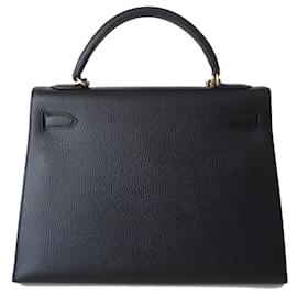 Hermès-SAC HERMES KELLY 32 Togo Noir-Noir