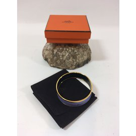 """Hermès-Hermès: Bracelet """" CALÈCHE """" en Email/ Plaqué or. Taille L-Autre"""