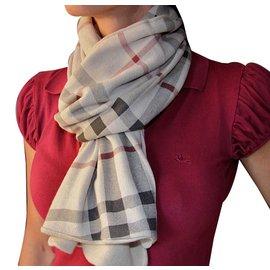 Burberry-burberry scarf coton et cachemire-Beige