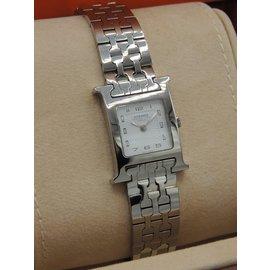 Hermès-Hermes montre heure h tout acier-Argenté