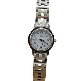 e4496132b726 Hermès-Hermes montre clipper dame tout acier-Argenté ...