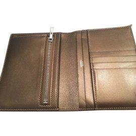 Hermès-Wallets-Golden,Light brown