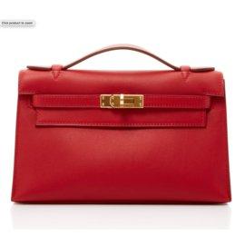 Hermès-Sublime et rare sac pochette HERMES Kelly Clutch swift Rouge Vif  NEUVE! 28039c449e6