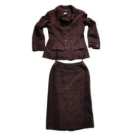 Chanel-Tailleur Tweed Velours-prune