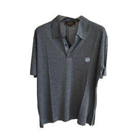 Leonard-Leonard paris light fabric polo shirt-Dark grey