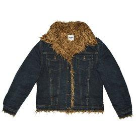 Moschino-Blousons, manteaux filles-Bleu
