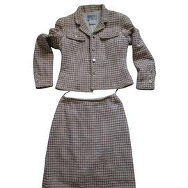 Chanel-Tailleur Tweed Pied de Coq-Rose,Écru