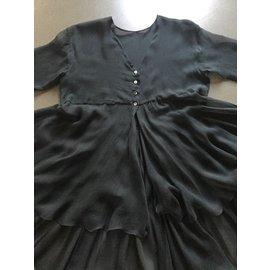 Ann Demeulemeester-Tunique ou veste en mousseline de soie Graphite (Noir gris) Poids plume-Noir