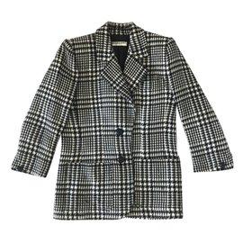 Yves Saint Laurent-Veste Blazer en laine-Noir,Blanc