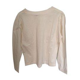 Yves Saint Laurent-T-shirt longues manche-Écru