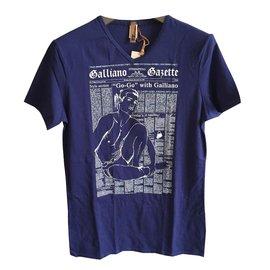 John Galliano-Tee shirts-Bleu