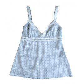 Chanel-Top Bleu ciel dentelle-Blanc,Bleu