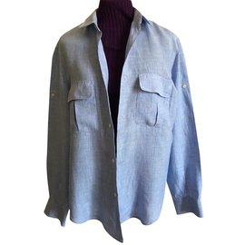 Adolfo Dominguez-chemise 10% Lin Mini carreaux type vichy-Bleu