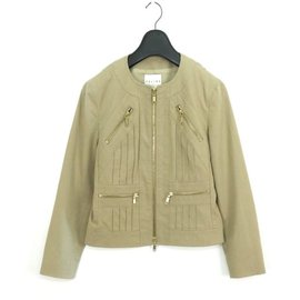 Céline-Celine  Stretch Zip Up Cotton Jacket-Beige
