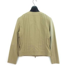 Céline-Celine  Stretch Zip Up Cotton Jacket-Beige