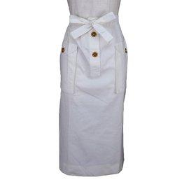 Céline-Celine  White Maxi Skirt-White,Yellow