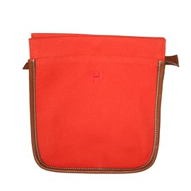 Hermès-Pochette Hermès CAMAIL PM-Orange