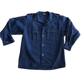 inconnue-chemise ou sur chemise en coton Indigo T. 4-Bleu
