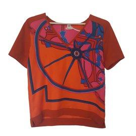 Hermès-Slik and wool sweater-Orange