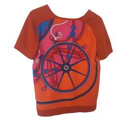 Hermès-Pull en soie Hermes-Orange