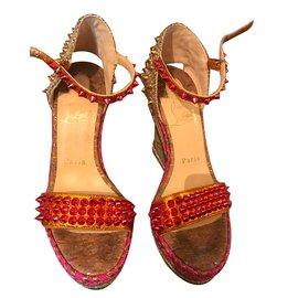 Christian Louboutin-Sandals-Pink,Golden
