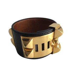 Hermès-Bracelet Collier de chien-Noir