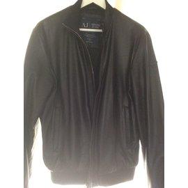 Armani Jeans-Veste cuir noire classique-Noir