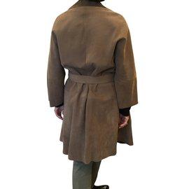 Marni-Manteau ample en daim ceinture-Caramel