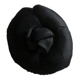 Chanel-Broche Camélia Soie Noir Chanel-Noir