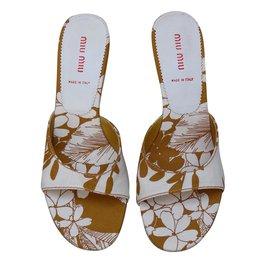 Miu Miu-Sandals-White,Mustard