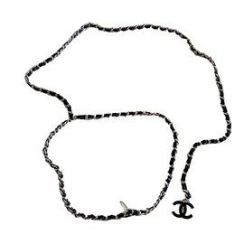 Chanel-Ceinture-Noir,Argenté