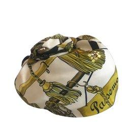 Hermès-Turban voile en soie-Blanc,Doré